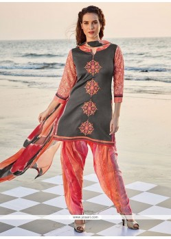 Angelic Embroidered Work Grey And Rose Pink Readymade Suit