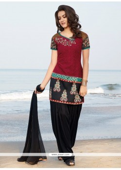 Magnificent Embroidered Work Cotton Black And Maroon Readymade Suit