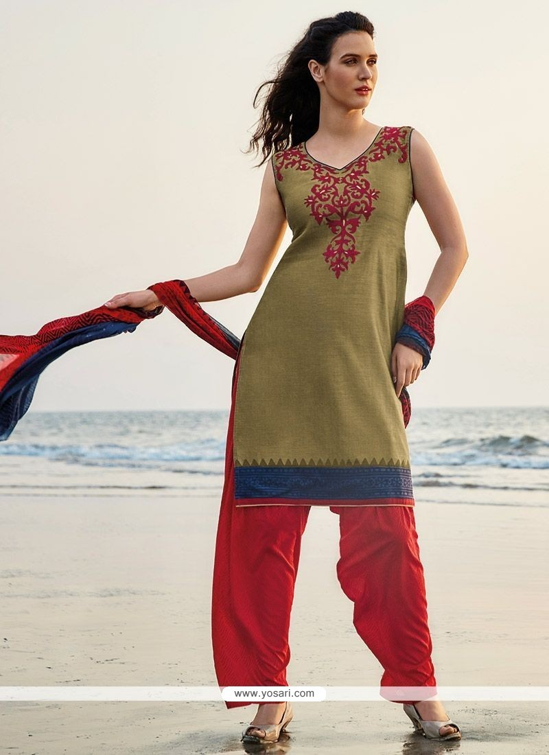 Enticing Chanderi Green And Red Embroidered Work Readymade Suit
