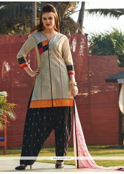 Blissful Chanderi Print Work Readymade Suit