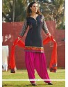 Gripping Embroidered Work Black Readymade Suit
