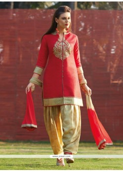 Exceeding Red Embroidered Work Readymade Suit