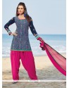 Brilliant Print Work Chanderi Blue And Pink Readymade Suit