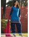 Best Chanderi Navy Blue Readymade Suit