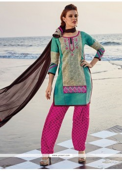 Breathtaking Chanderi Print Work Readymade Suit