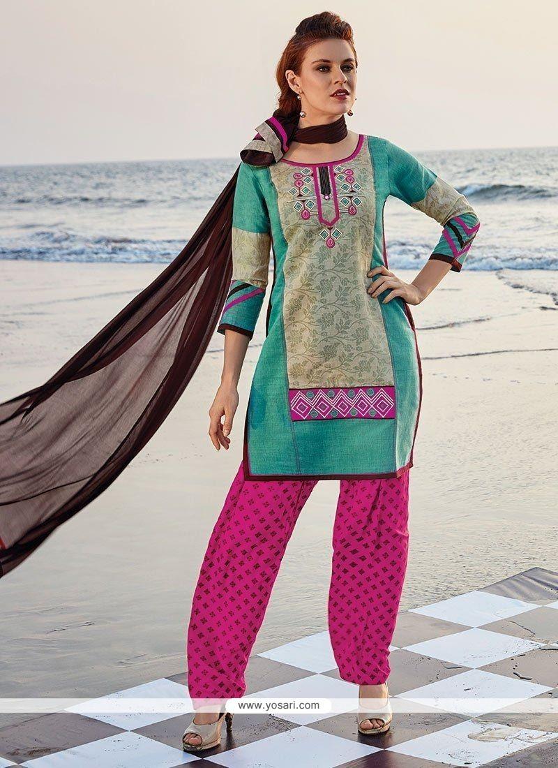 Breathtaking Chanderi Print Work Readymade Suit