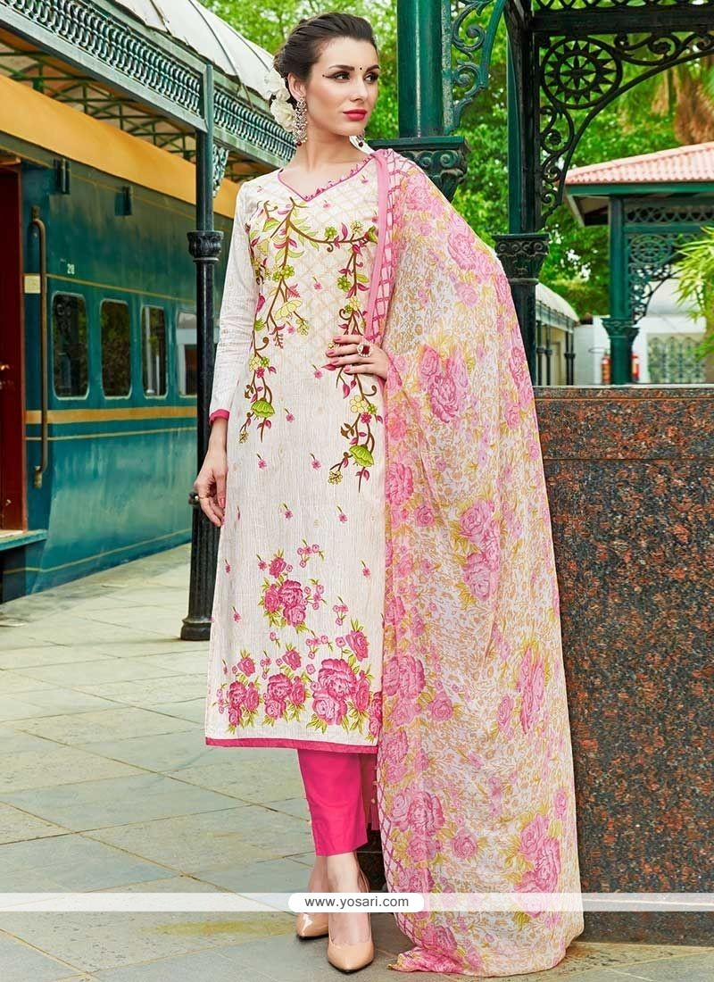 Sunshine Cotton Pink And White Digital Print Work Pant Style Suit