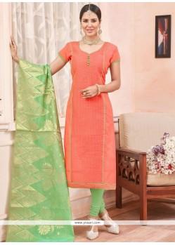 Alluring Chanderi Lace Work Churidar Suit