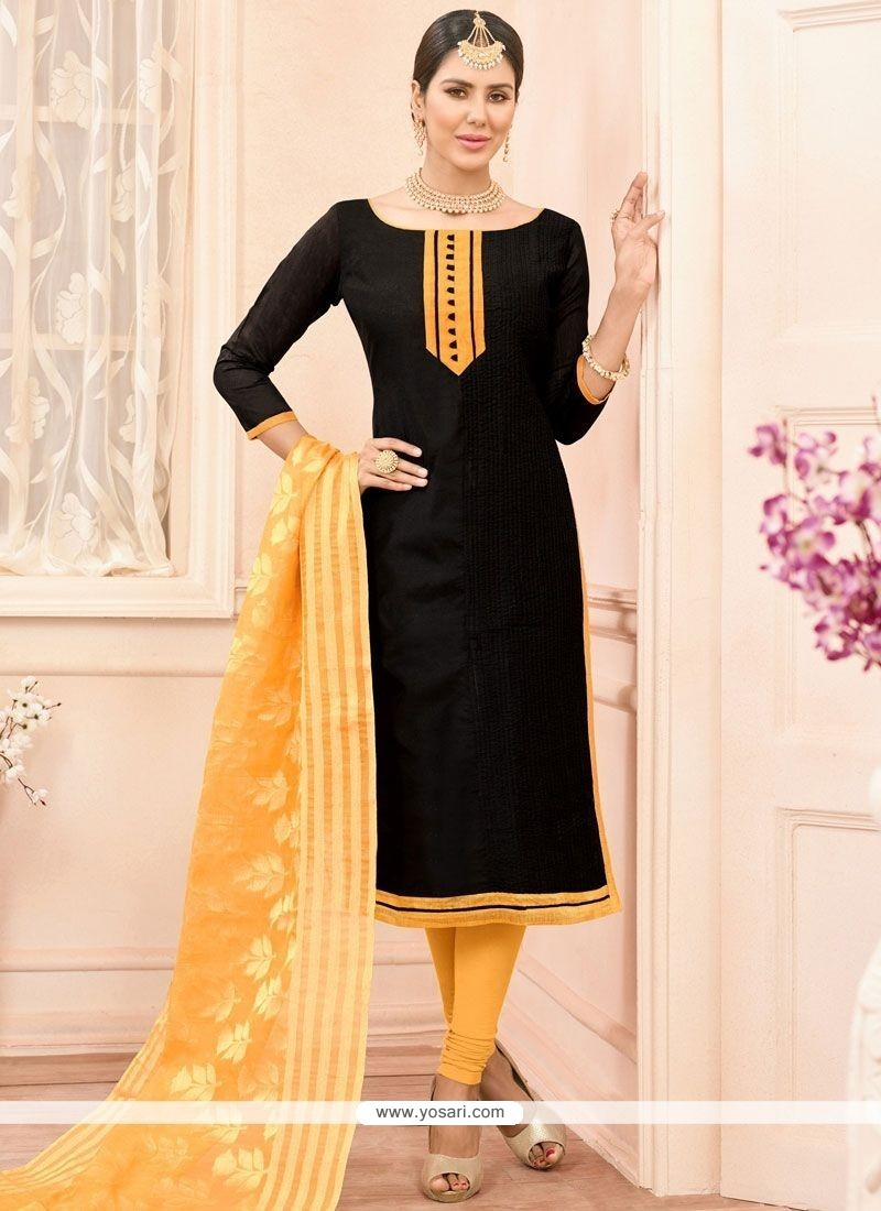 Exceeding Lace Work Chanderi Cotton Churidar Suit