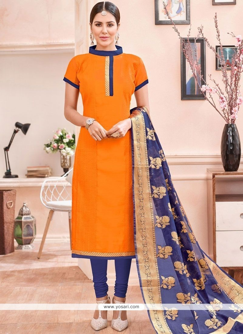Astounding Chanderi Cotton Orange Lace Work Churidar Suit
