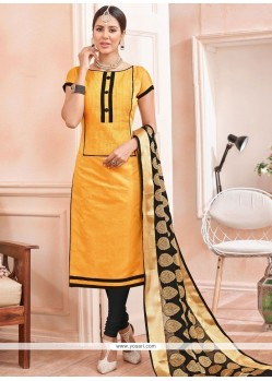 Gleaming Chanderi Churidar Suit