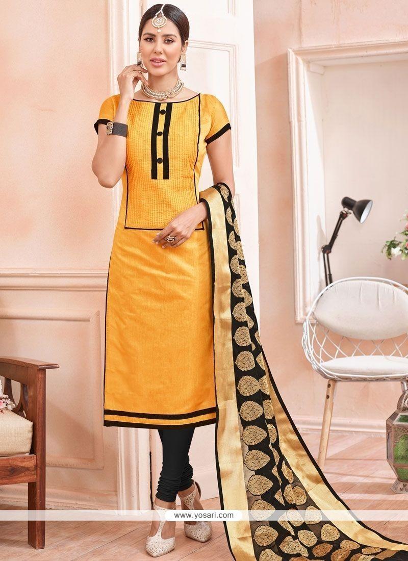 Gleaming Chanderi Churidar Suit
