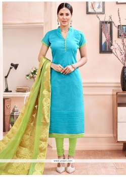 Ideal Lace Work Turquoise Churidar Suit