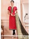 Sunshine Chanderi Cotton Lace Work Churidar Suit