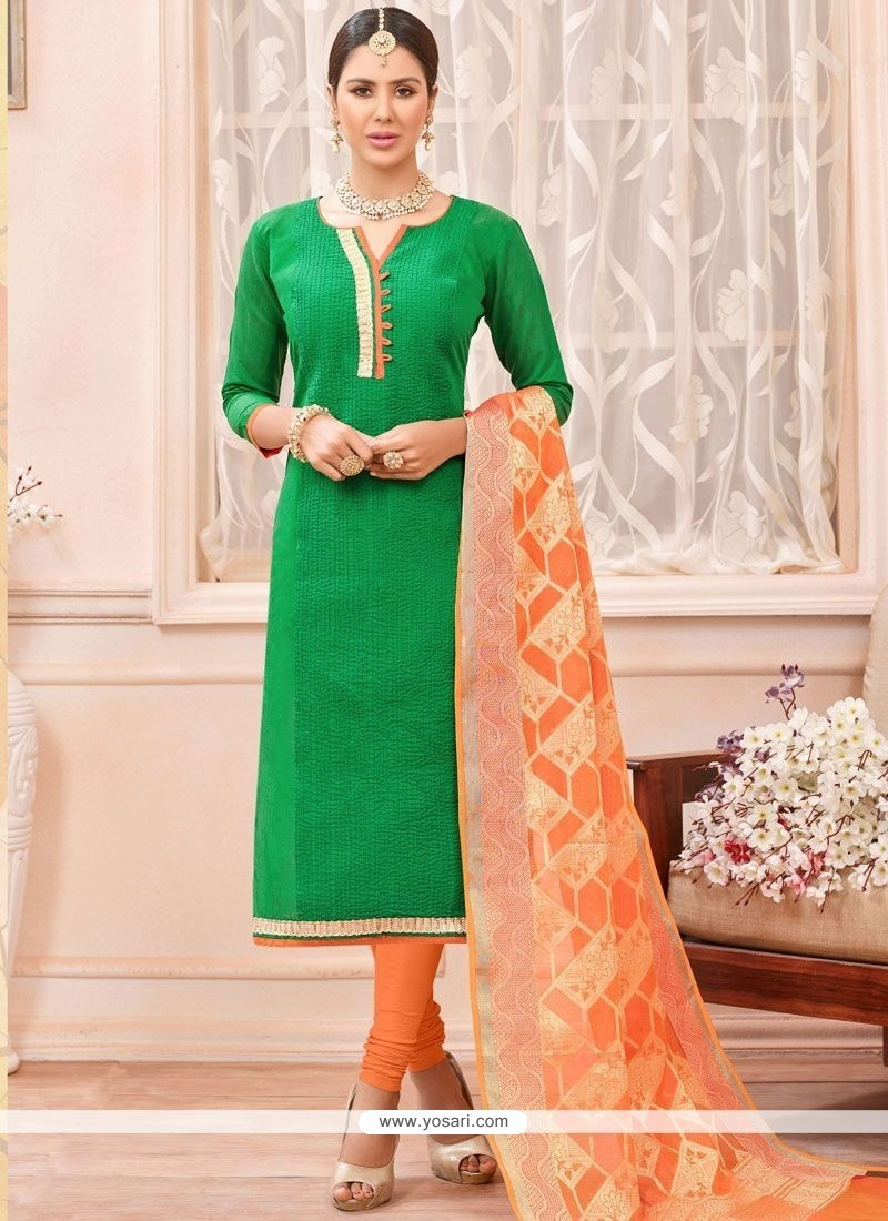 Gorgonize Green Lace Work Chanderi Cotton Churidar Suit
