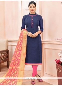 Savory Chanderi Cotton Lace Work Churidar Suit