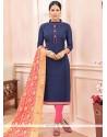 Savory Chanderi Cotton Lace Work Churidar Suit