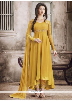Amazing Yellow Embroidered Work Anarkali Suit