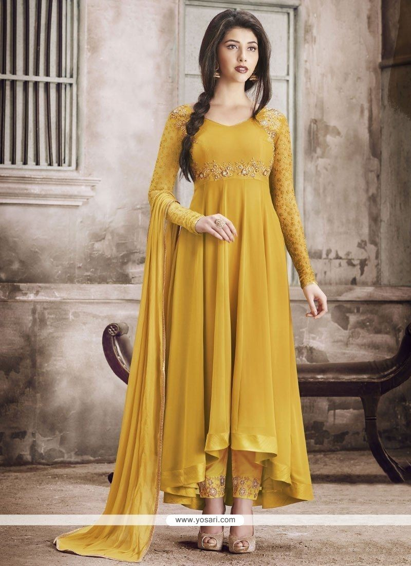 Amazing Yellow Embroidered Work Anarkali Suit