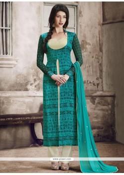 Suave Blue Print Work Faux Georgette Pant Style Suit