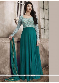 Teal Faux Georgette Floor Length Anarkali Suit