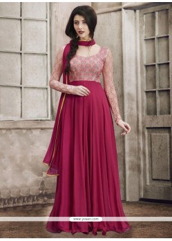 Affectionate Magenta Faux Georgette Floor Length Anarkali Suit