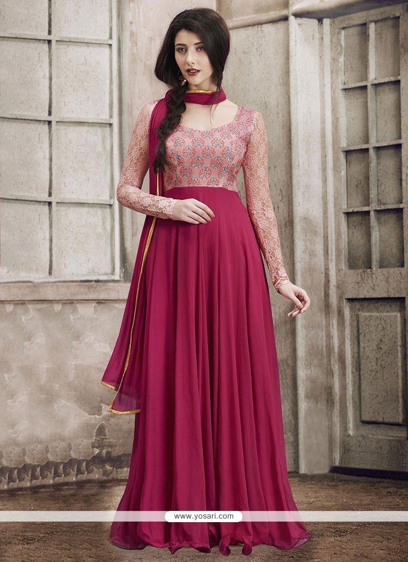 Affectionate Magenta Faux Georgette Floor Length Anarkali Suit
