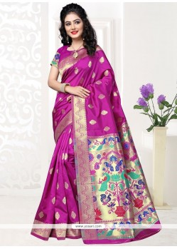 Enthralling Art Silk Hot Pink Designer Traditional Saree