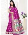Enthralling Art Silk Hot Pink Designer Traditional Saree