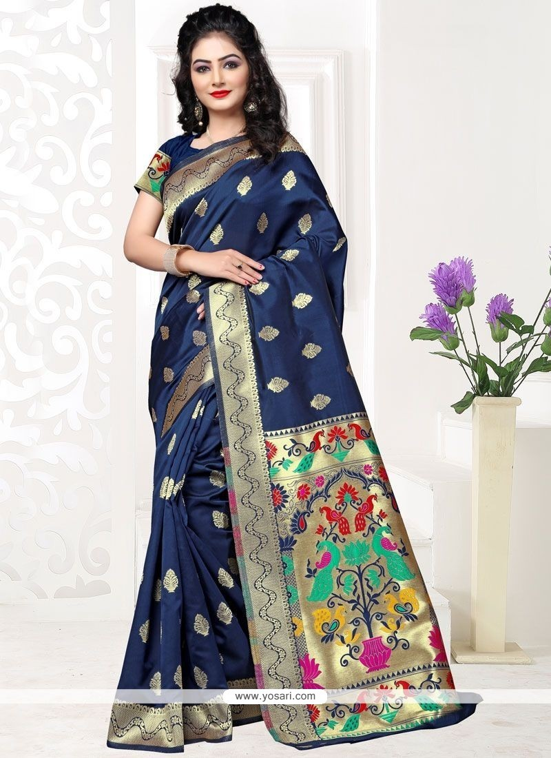 Mod Art Silk Weaving Work Traditional Saree