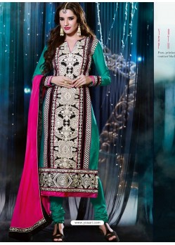Multicolor Silk Anarkali Suit