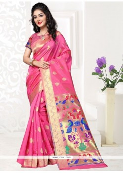 Unique Art Silk Pink Designer Traditional Saree