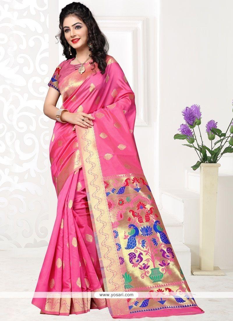 Unique Art Silk Pink Designer Traditional Saree