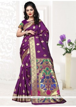 Exceptional Purple Traditional Saree