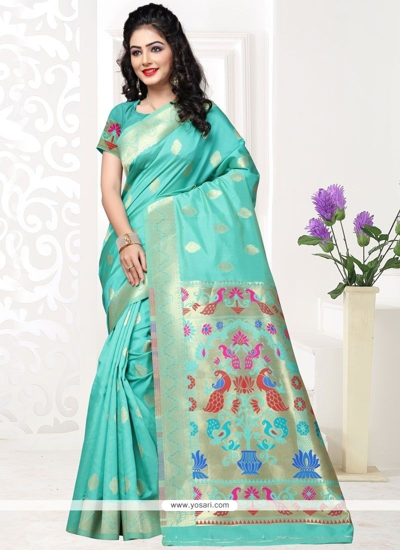 Gilded Turquoise Designer Traditional Saree