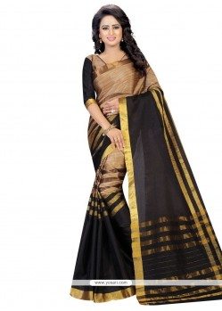 Aspiring Cotton Black Casual Saree
