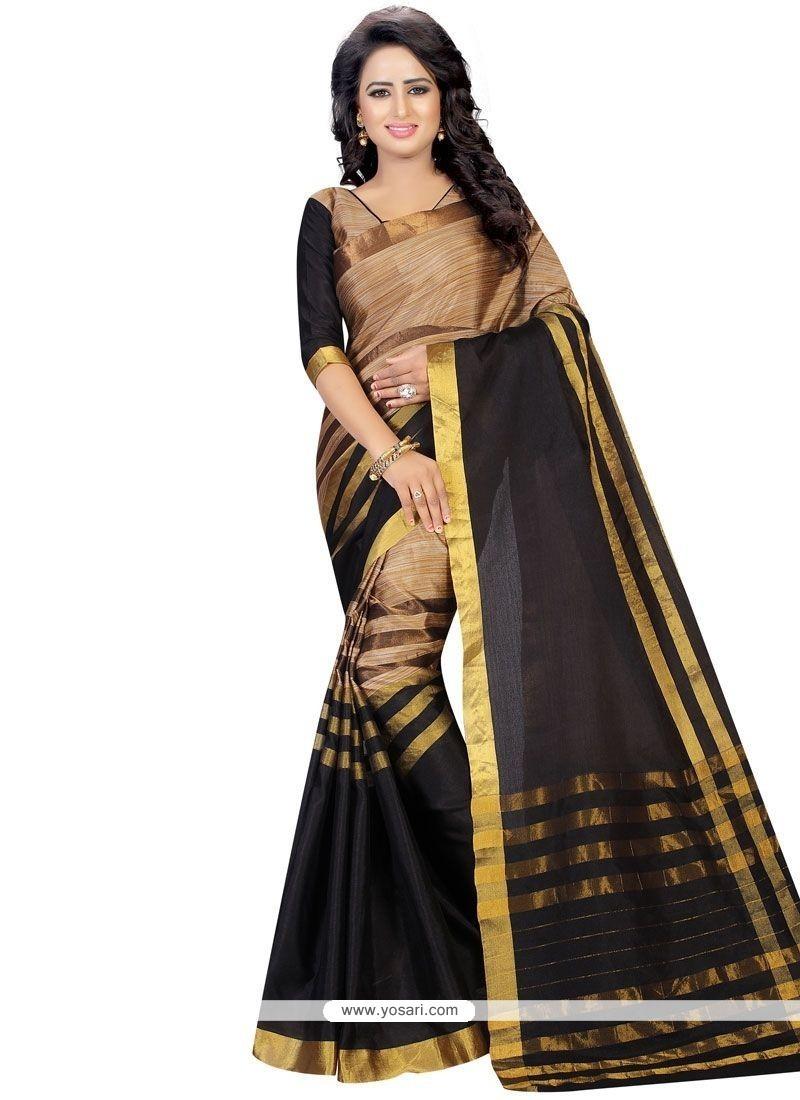 Aspiring Cotton Black Casual Saree