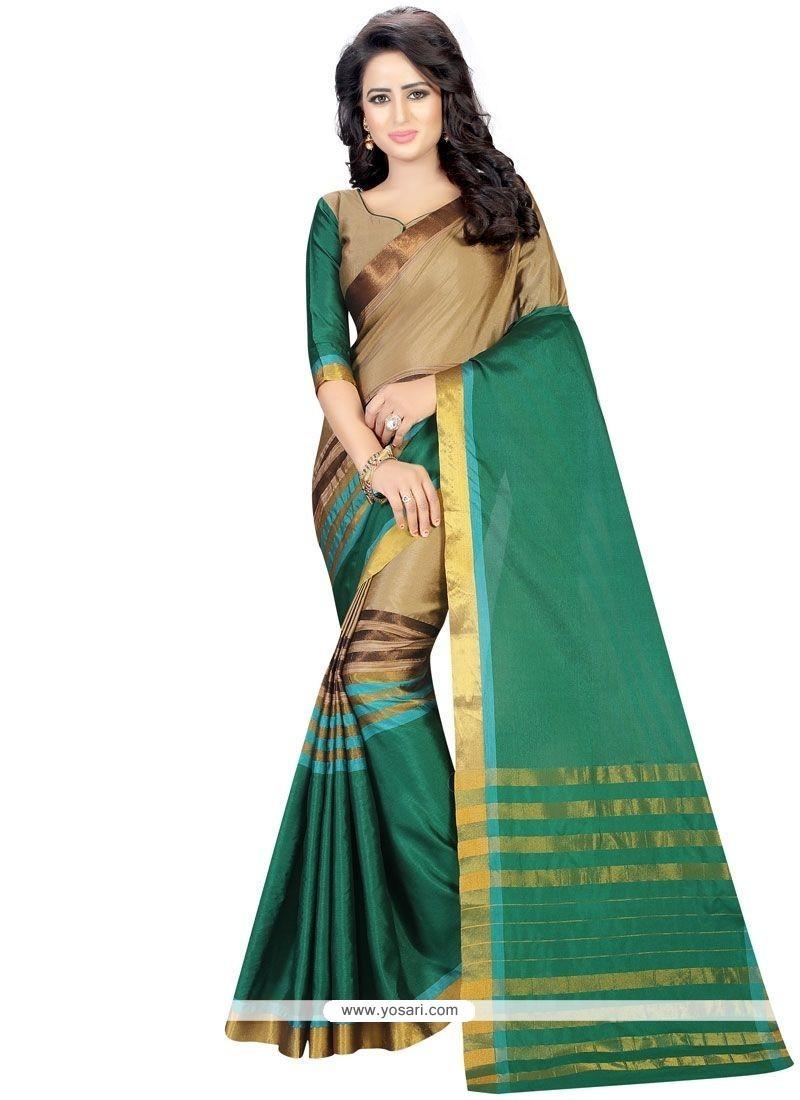 Catchy Green Casual Saree