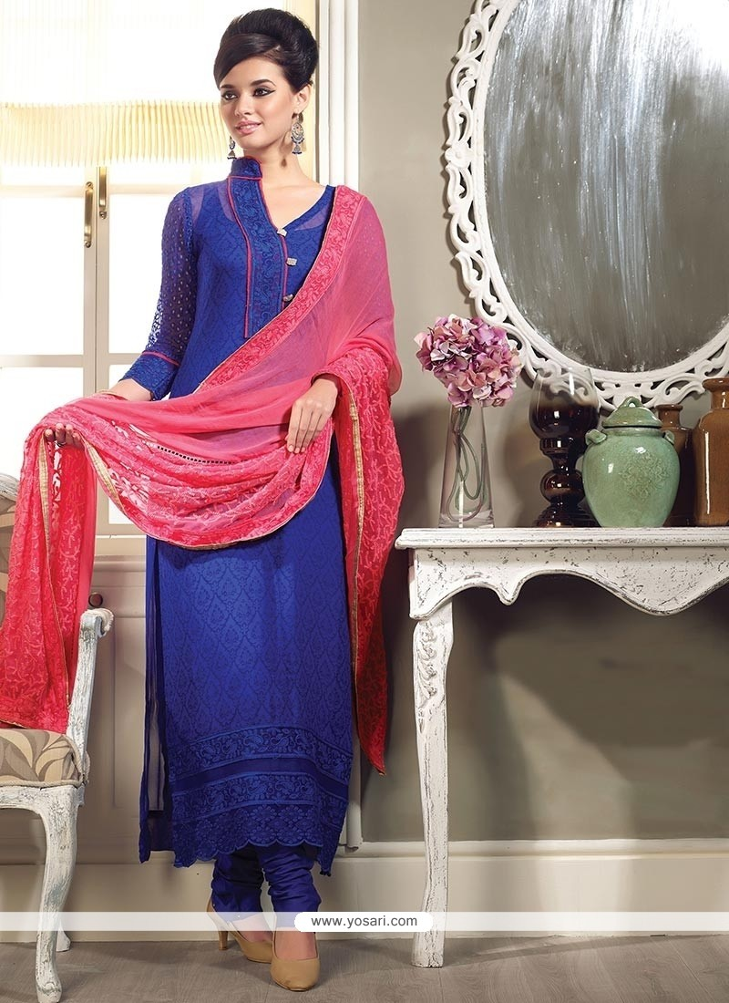 Blue Georgette Printed Churidar Suit