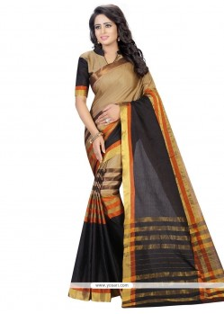 Glorious Black Woven Work Cotton Casual Saree