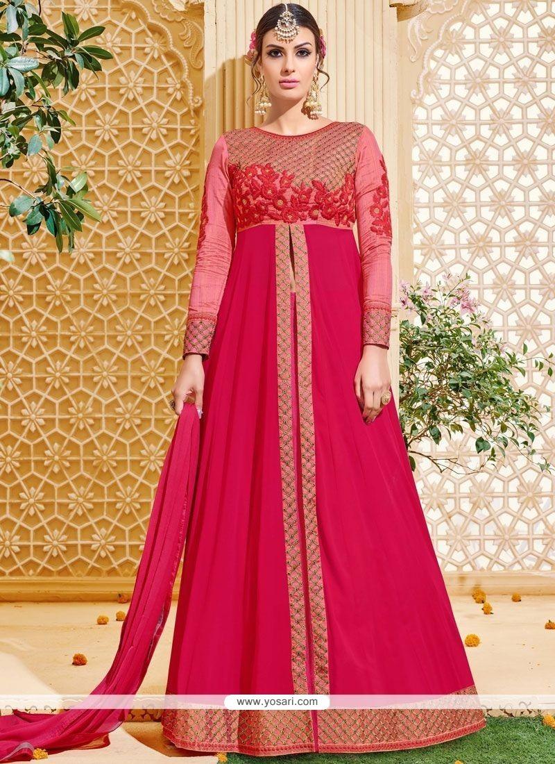 Stylish Patch Border Work Floor Length Anarkali Suit