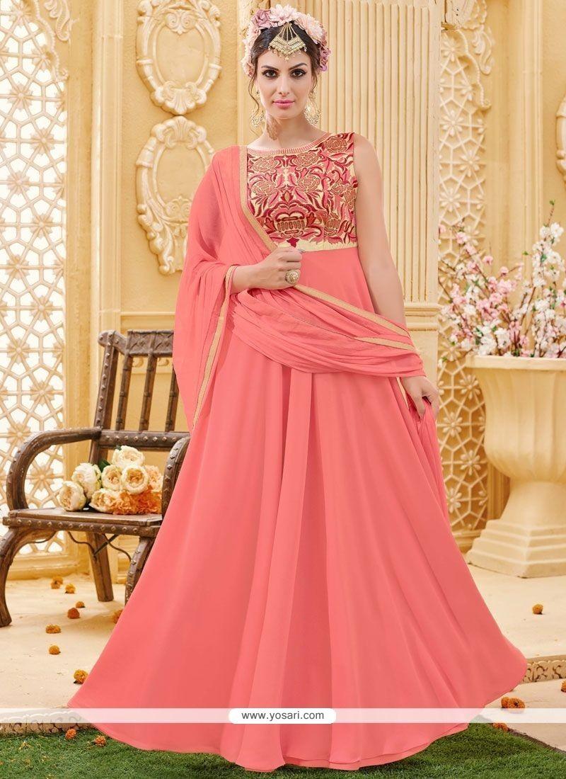 Vivacious Embroidered Work Faux Georgette Floor Length Anarkali Suit