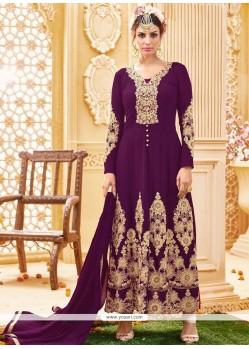 Amazing Purple Resham Work Designer Floor Length Suit