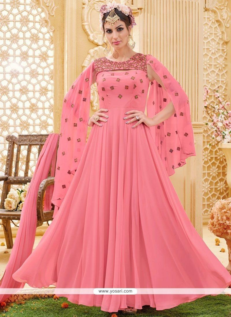 Adorable Rose Pink Floor Length Designer Suit