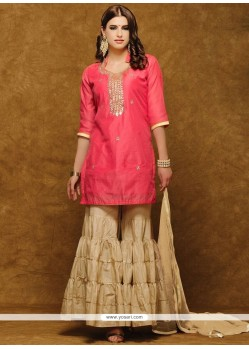 Exceptional Beige And Pink Hand Work Work Designer Suit