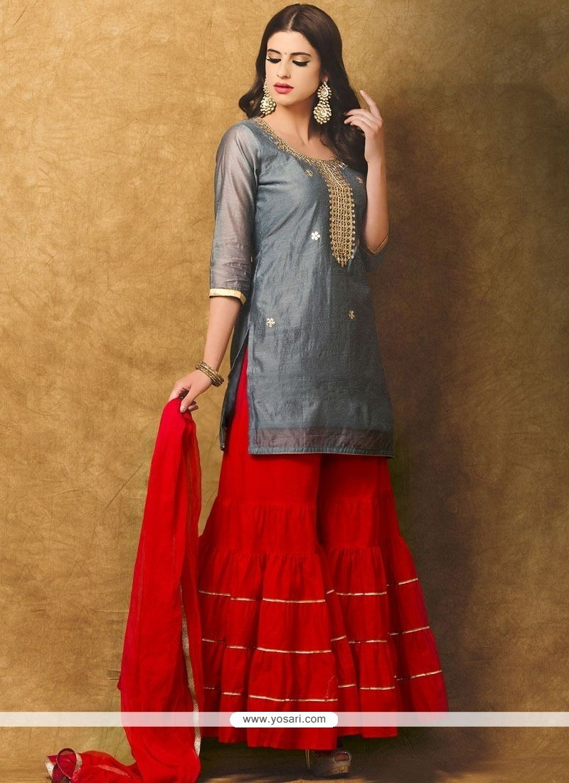 Lovely Grey And Red Designer Suit