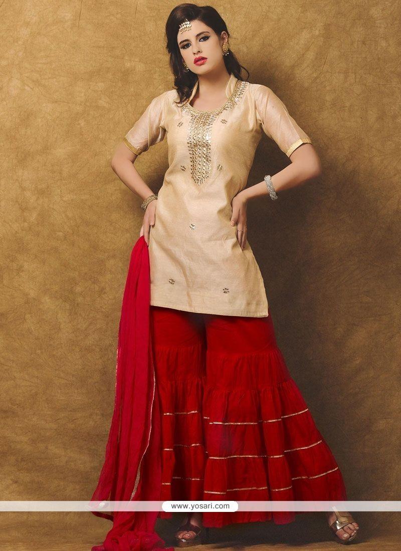 Lavish Beige And Red Chanderi Designer Suit
