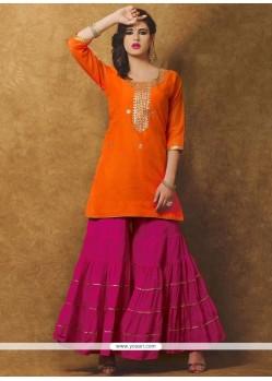 Dainty Chanderi Hot Pink And Orange Designer Suit