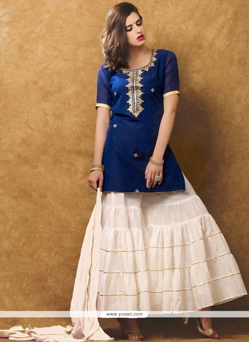 Modernistic Hand Work Work Navy Blue And White Designer Suit