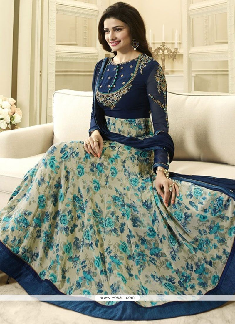 Prachi Desai Navy Blue Georgette Anarkali Salwar Suit